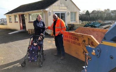 Stuarts EMS support Courageous Cory by donating a skip
